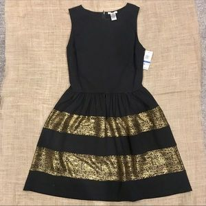 Bar III Black & Gold fit n flair cocktail dress